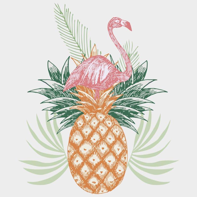 Flamingo na cópia tropical do abacaxi ilustração do vetor