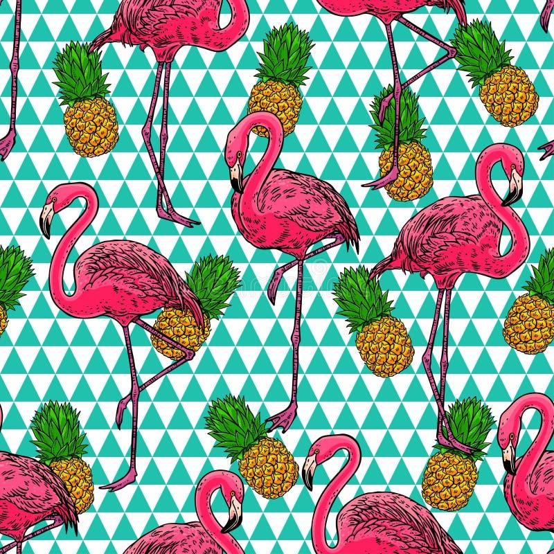 Flamingo och ananors royaltyfri illustrationer