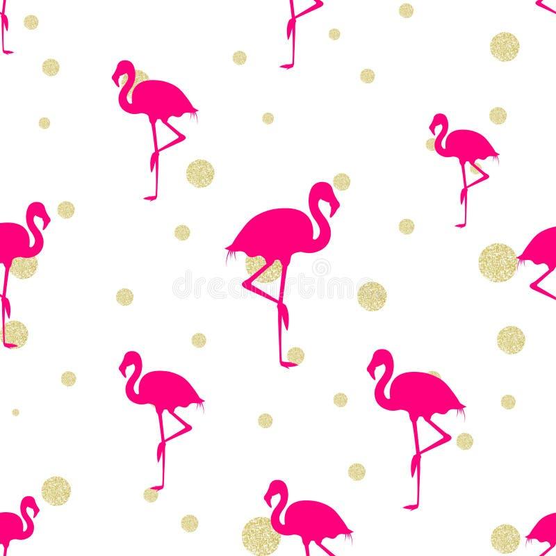 Flamingo och guld för varma rosa färger blänker stock illustrationer