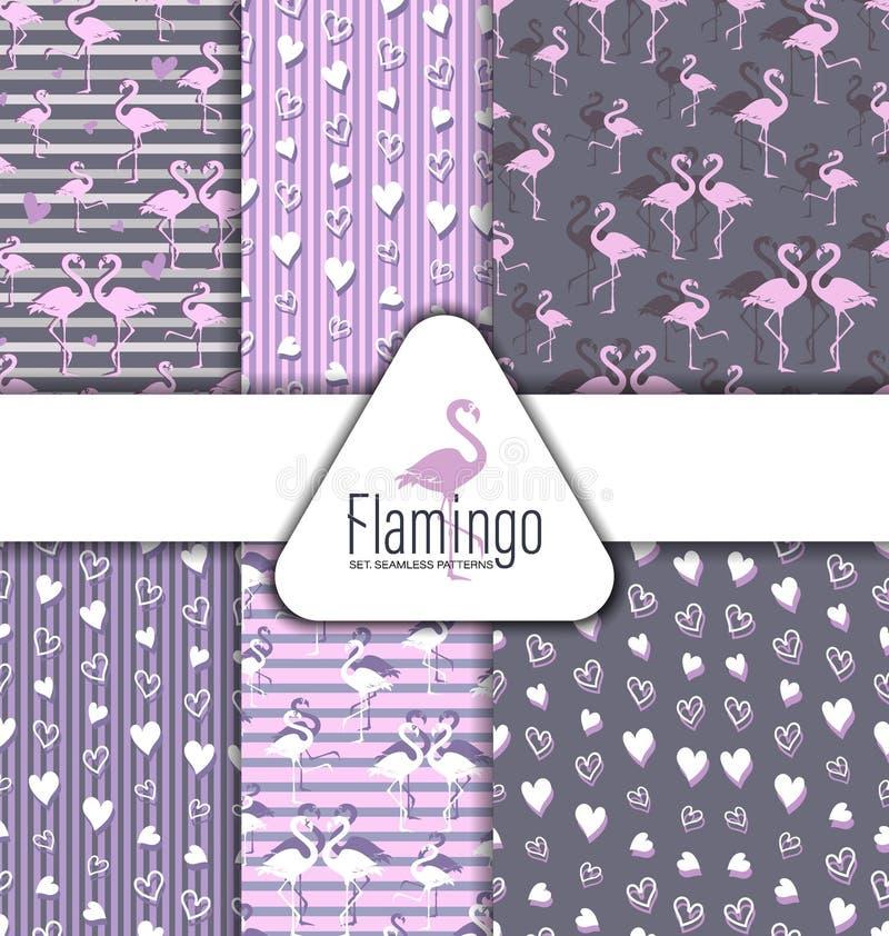 Flamingo och hjärtor Uppsättning mönsan seamless vektor illustrationer
