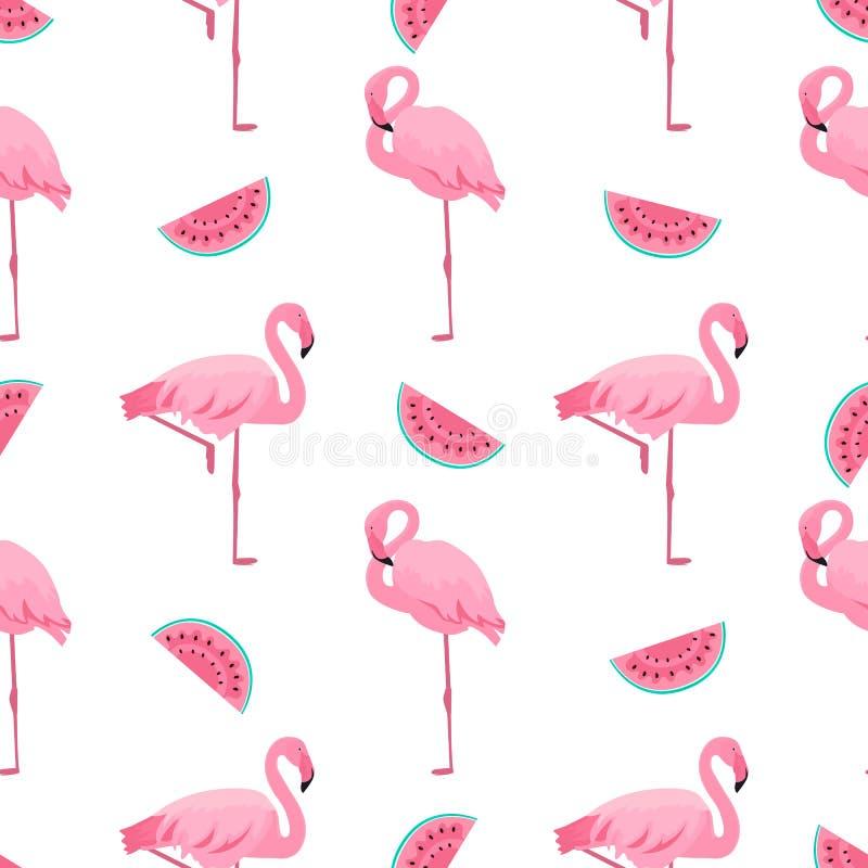 Flamingo och vattenmelon Tropisk s?ml?s modell f?r sommar Använt för designyttersidor, tyger, textiler, förpackande papper, tapet royaltyfri illustrationer