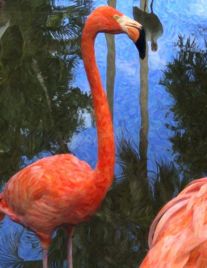 Flamingo Oil Painting Background Wallpaper, tropische vogel, Creative Art, Wildlife, Royalty Free Stock Photo royalty-vrije illustratie