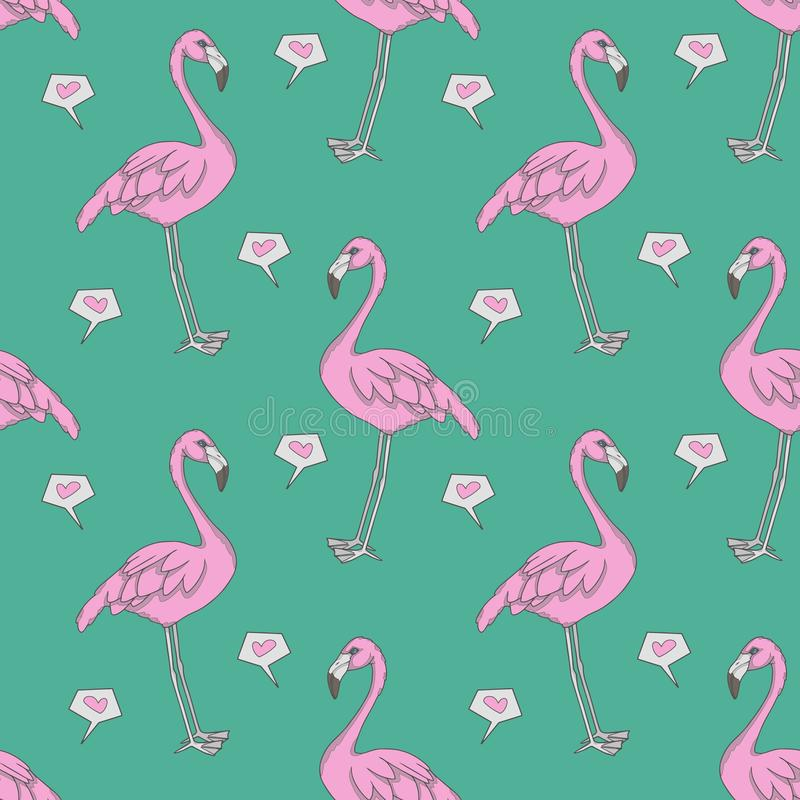 Flamingo omputer graphic seamless pattern illustration with pink exotic birds and hearts on teal background royalty free illustration