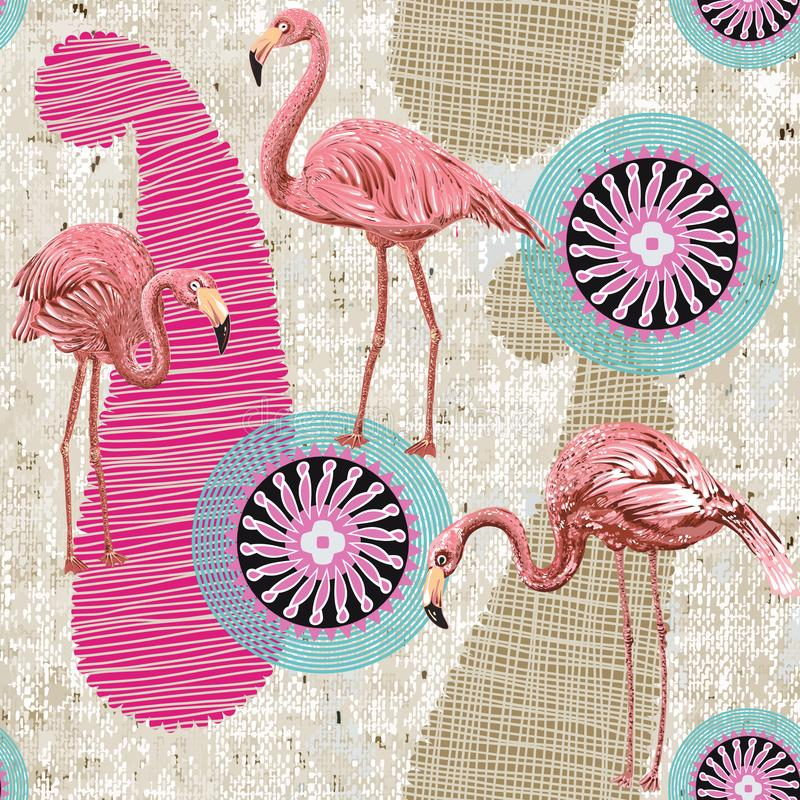Free Flamingo On A Colorful Background. Seamless Pattern With Flamingos And Tropical Plants. Colorful Pattern For Textile Royalty Free Stock Photo - 125076935