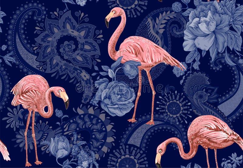 Flamingo på en blå bakgrund, djungel Sömlös modell med flamingo och tropiska växter vektorclipart färgrikt vektor illustrationer