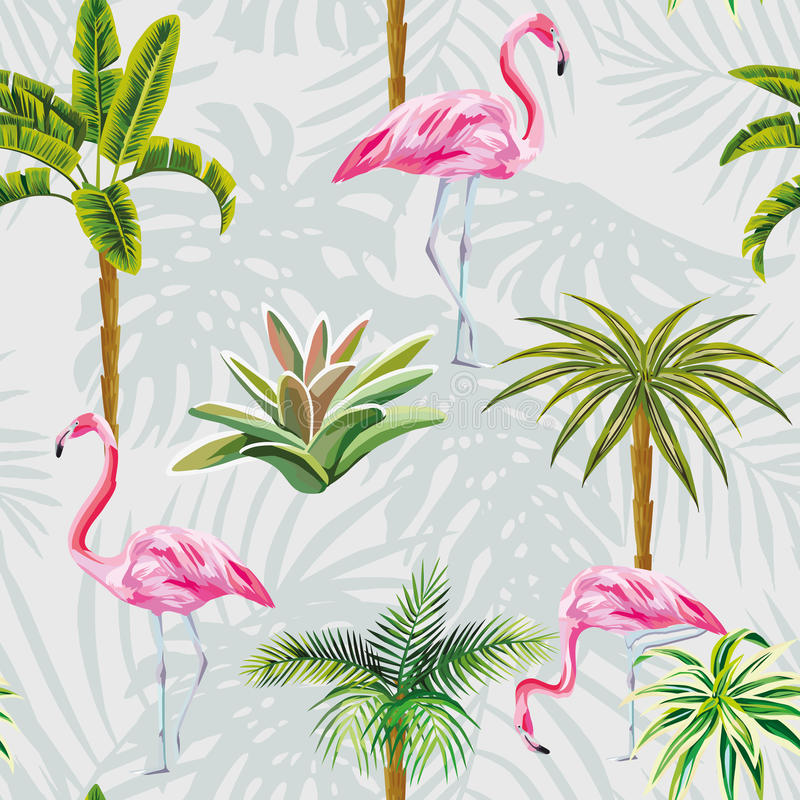 Flamingo palm trees cactus seamless grey background with leaves stock illustration