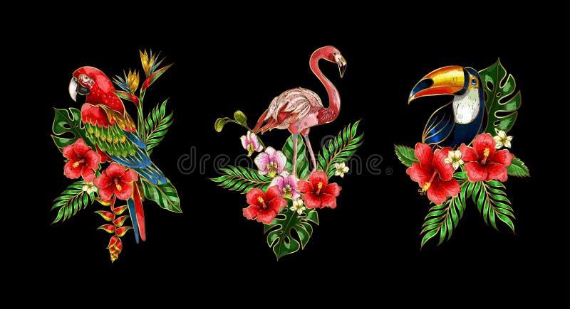 Flamingo, papegaai, de flarden van het toekanborduurwerk met boeket van tropische bloemen vector illustratie