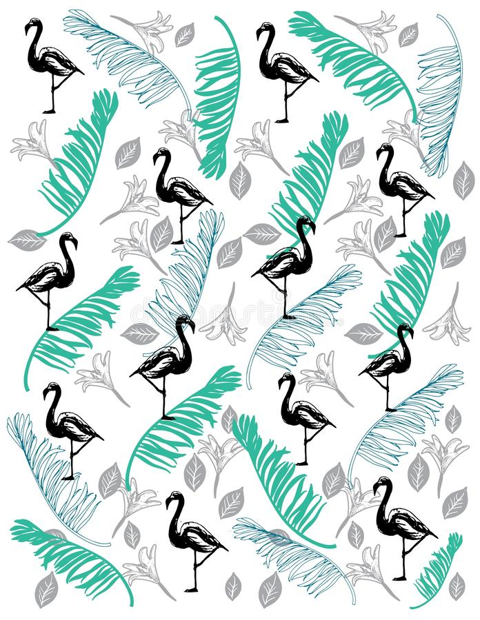 Flamingo Pattern with coco leaf royalty free illustration