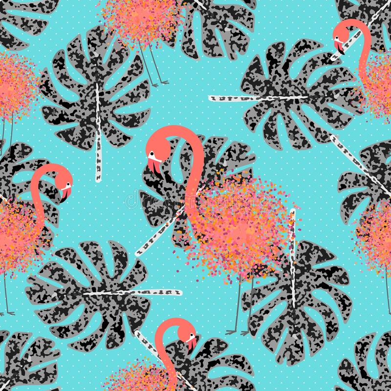 Flamingo pattern. Monstera leaves, great design for any purposes. Vector cartoon illustration. Summer vector vector illustration