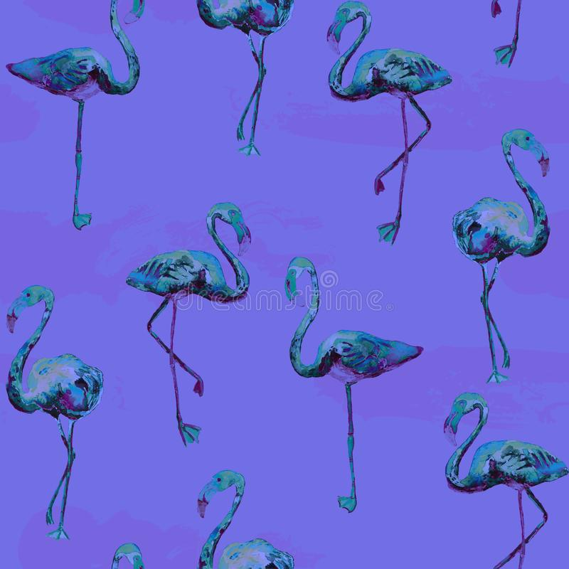 Flamingo pattern. Summer watercolor background. royalty free stock photography
