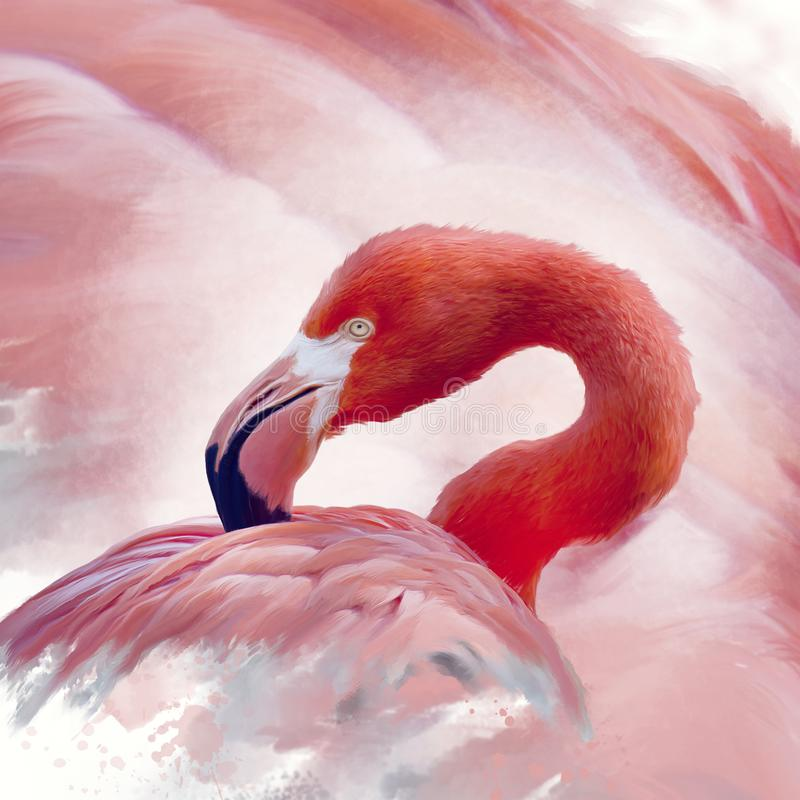 Flamingo watercolor painting vector illustration
