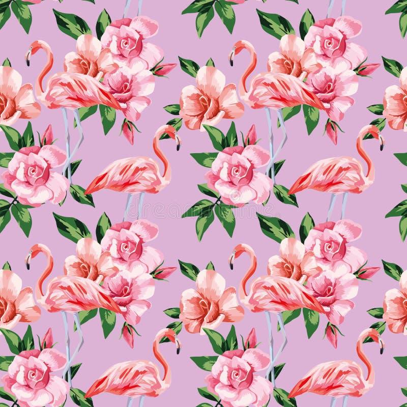 Flamingo rose flowers pink color seamless pattern vector illustration