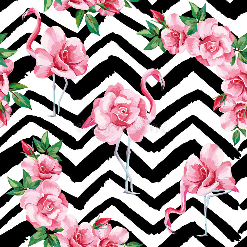 Flamingo roses seamless pattern black white zigzag background. Beach image of a wallpaper with a beautiful tropic pink flamingo and rose flowers. Seamless vector vector illustration