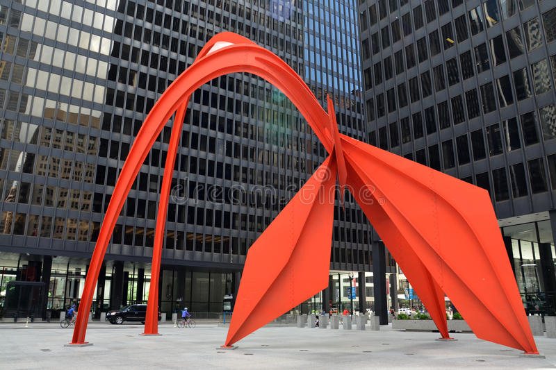 Flamingo sculpture in Chicago royalty free stock photo