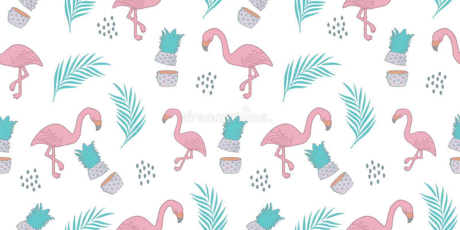 Flamingo seamless pattern with trendy summer exotic background vector illustration ready for print royalty free illustration