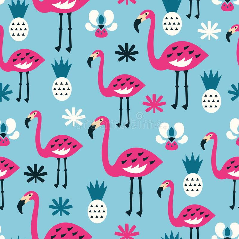 Free Flamingo Seamless Pattern. Vector Illustration Royalty Free Stock Image - 193304036