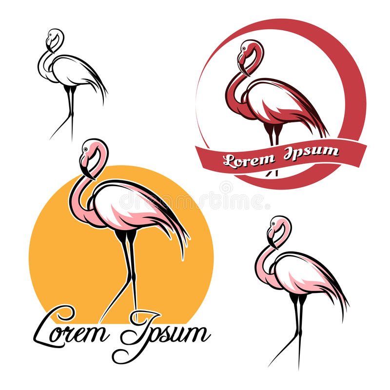 Flamingo set royalty free illustration