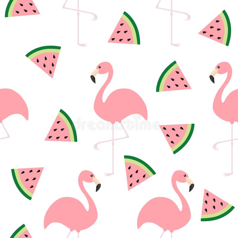 Flamingo set. Seamless Pattern Exotic tropical bird. Watermelon triangle slice seeds. Zoo animal collection. Cute cartoon characte royalty free illustration