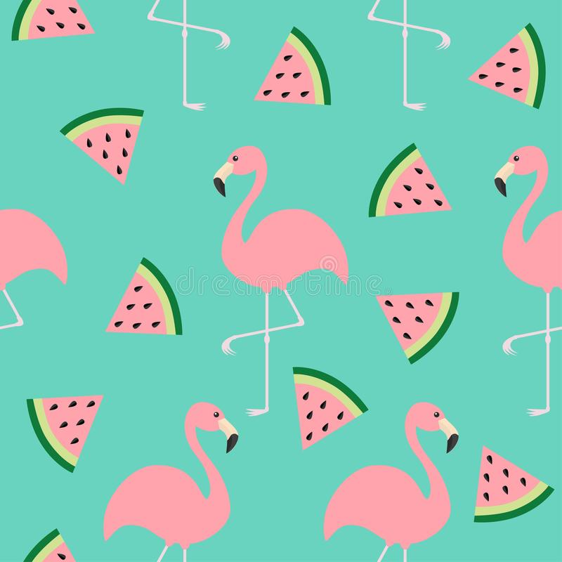 Flamingo set. Seamless Pattern Exotic tropical bird. Watermelon triangle slice seeds. Zoo animal collection. Cute cartoon characte vector illustration
