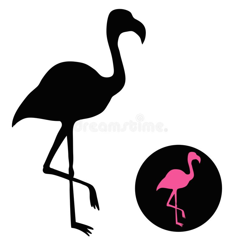 Flamingo silhouette isolated on white - vector illustration vector illustration