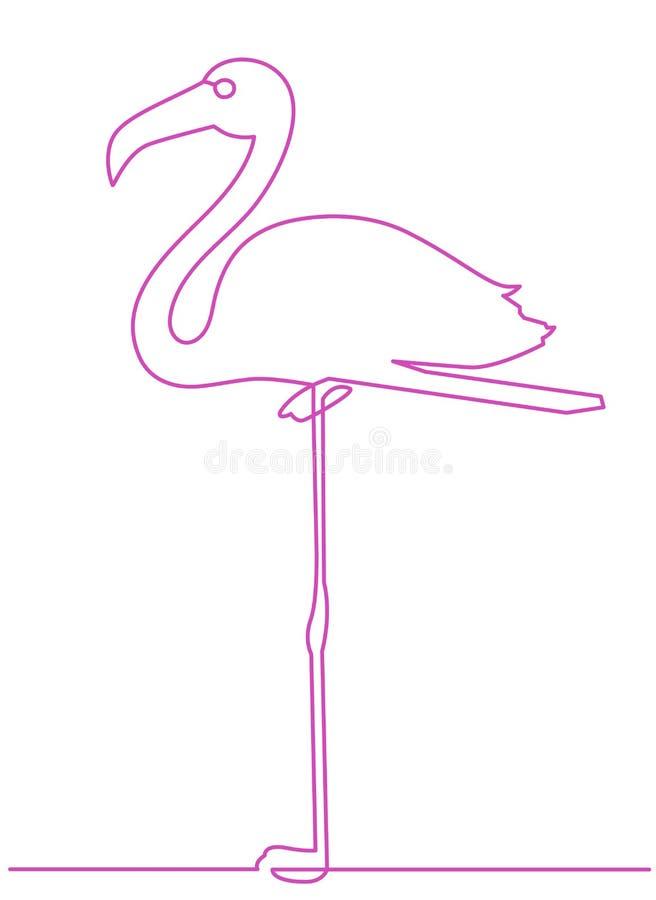 Flamingo som blir på en fortlöpande linje teckningsbeståndsdel som för ben isoleras på vit bakgrund royaltyfri illustrationer