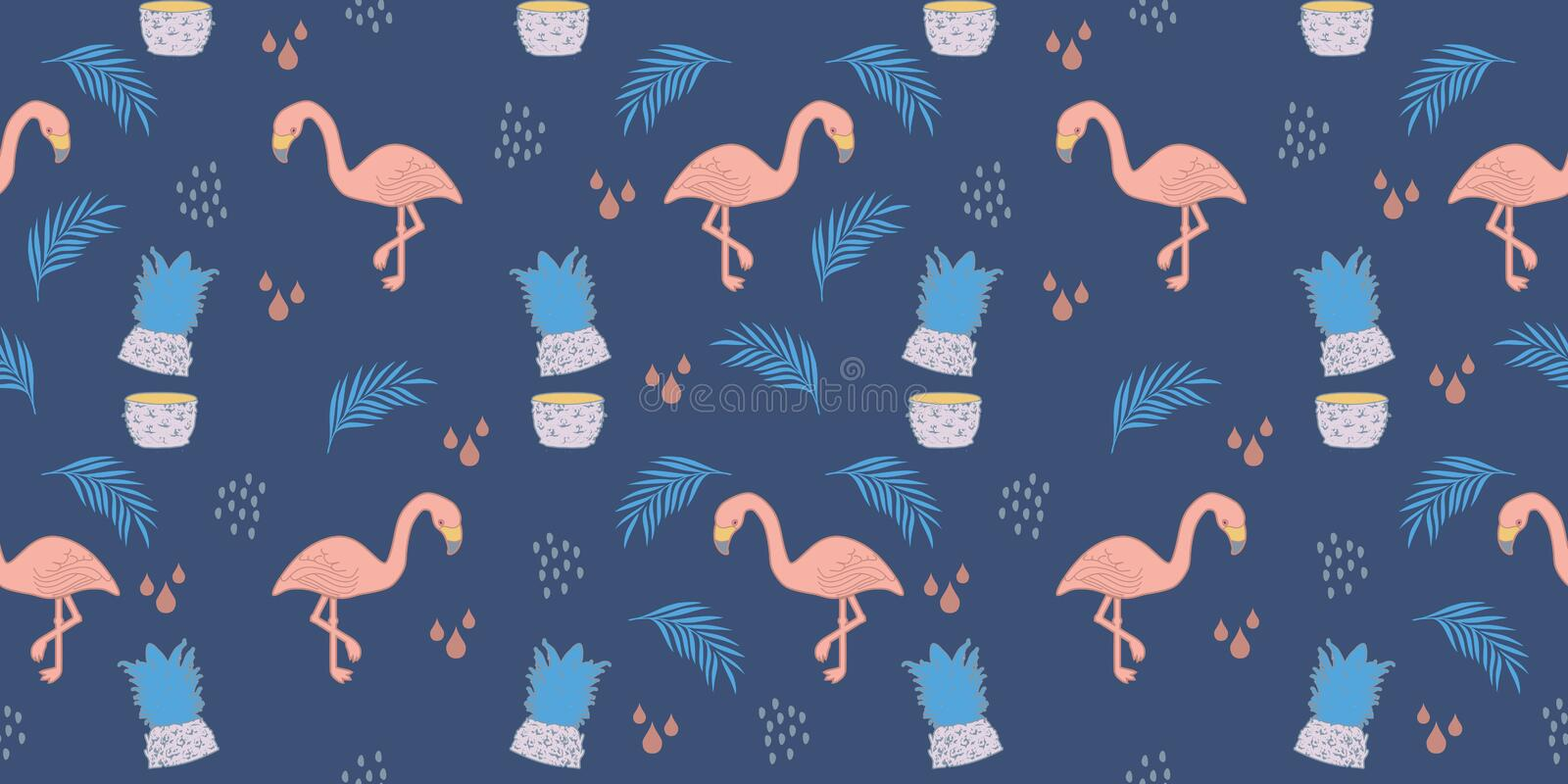 flamingo summer pattern. Trendy exotic tropical pastel colors background seamless drawing stock illustration