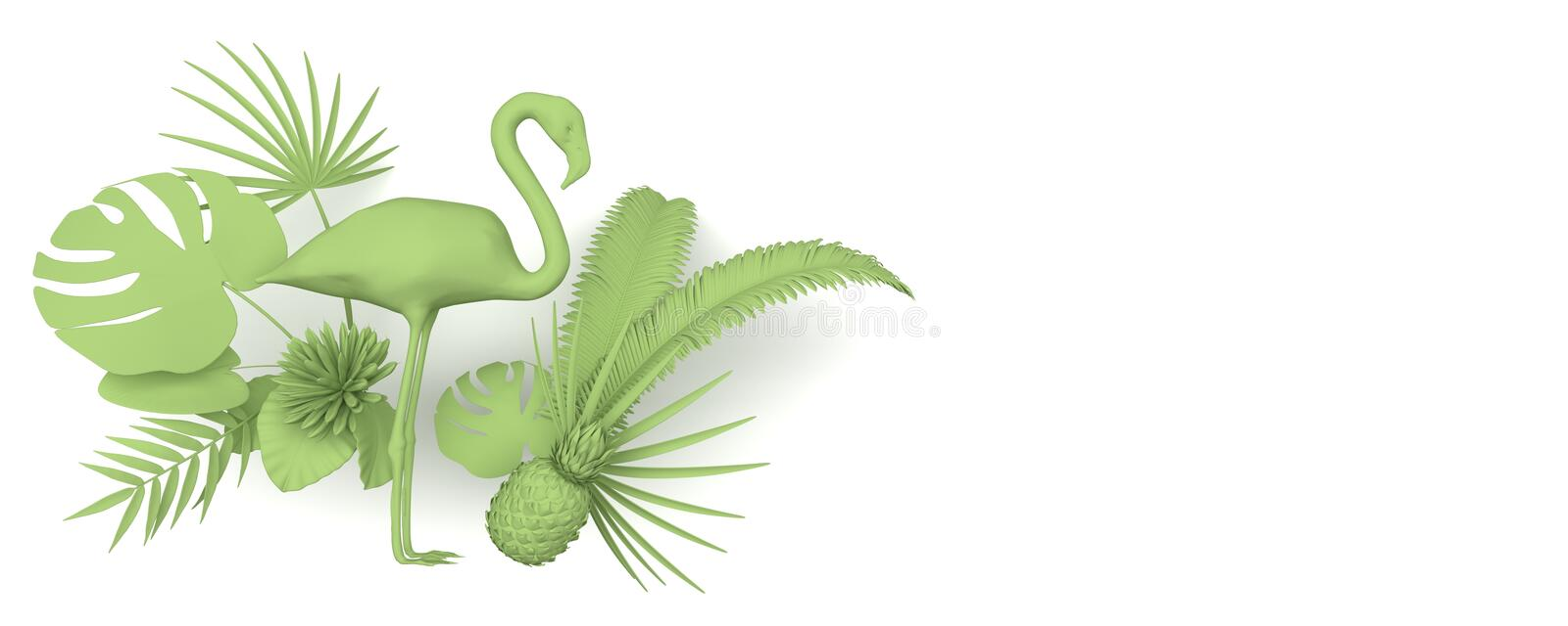 Flamingo surrounded by tropical exotic plants. Monochrome green image on a white background. Copy space. 3D rendering. vector illustration