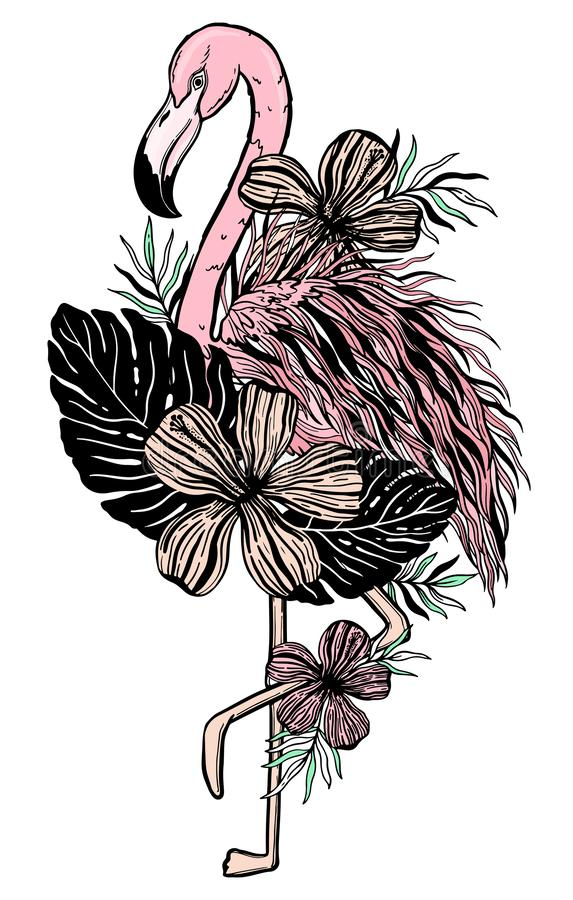Flamingo tattoo tropical animal bird. Summer nature drawing. Black and pink color isolated ina white background. Vector illustration royalty free stock image