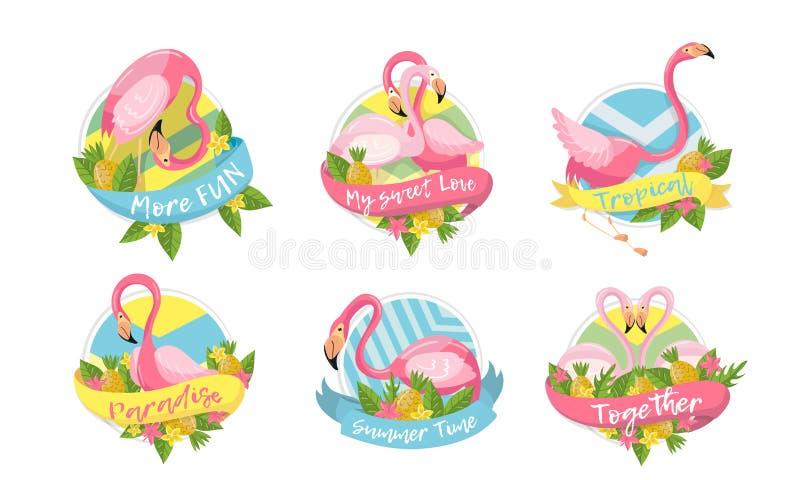 Flamingo and Tropical Flora Vector Compositions Set stock illustratie