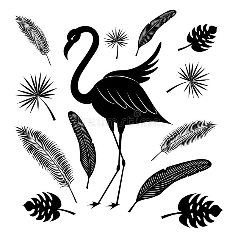 Flamingo and tropical leaves: coconut palm, palm fan, banana texture. Black silhouette. Summer set vector illustration
