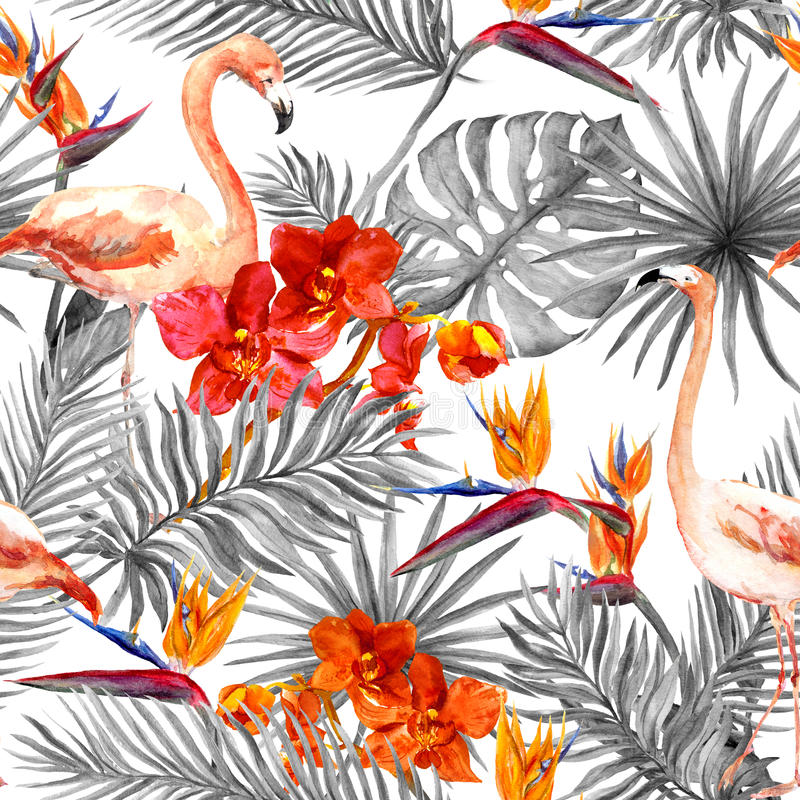 Flamingo, tropical leaves, exotic flowers. Seamless black-white background. Watercolor stock illustration