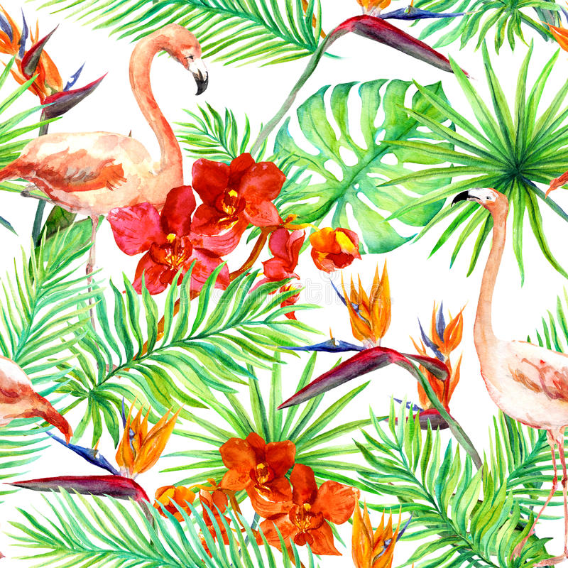 Flamingo, tropical leaves and exotic flowers. Seamless jungle pattern. Watercolor vector illustration