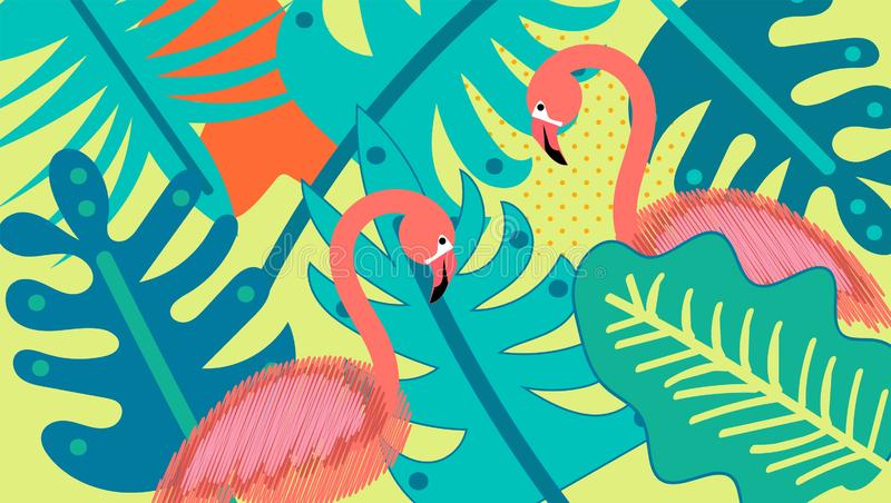 Flamingo, tropical leaves, hand drawn vector watercolor illustration. Flamingo for textile design. jungle background. Palm tree stock illustration