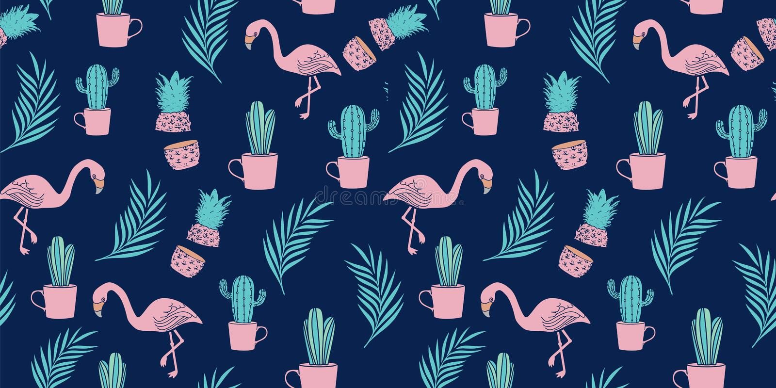 Flamingo, tropical leaves, and pineapple hand drawn vector jungle on blue background stock illustration