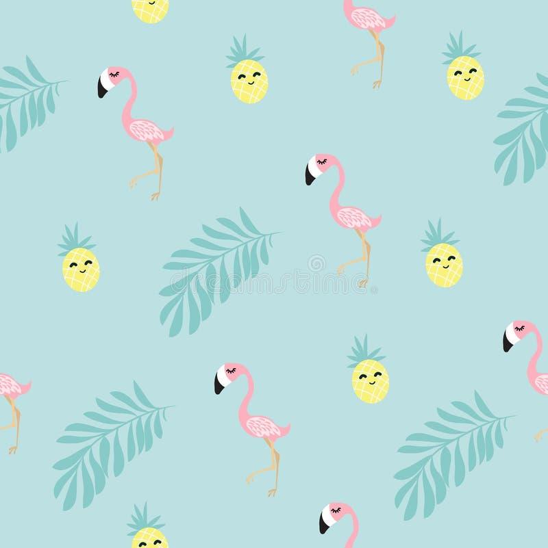 Flamingo tropisch naadloos patroon royalty-vrije illustratie