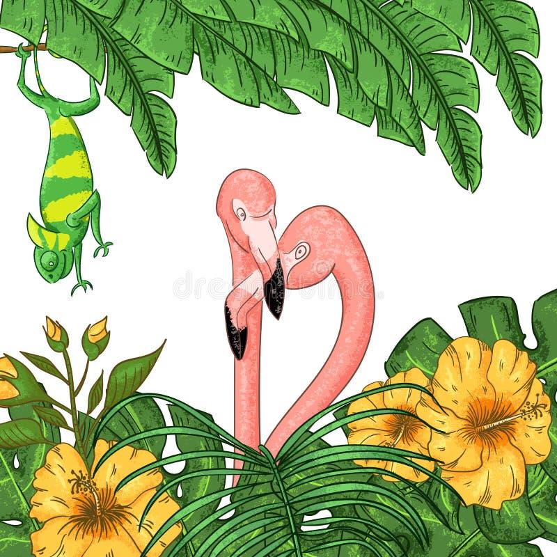 Flamingo- und Chamäleonparteieinladung Tropisches hawaiisches Plakat vektor abbildung
