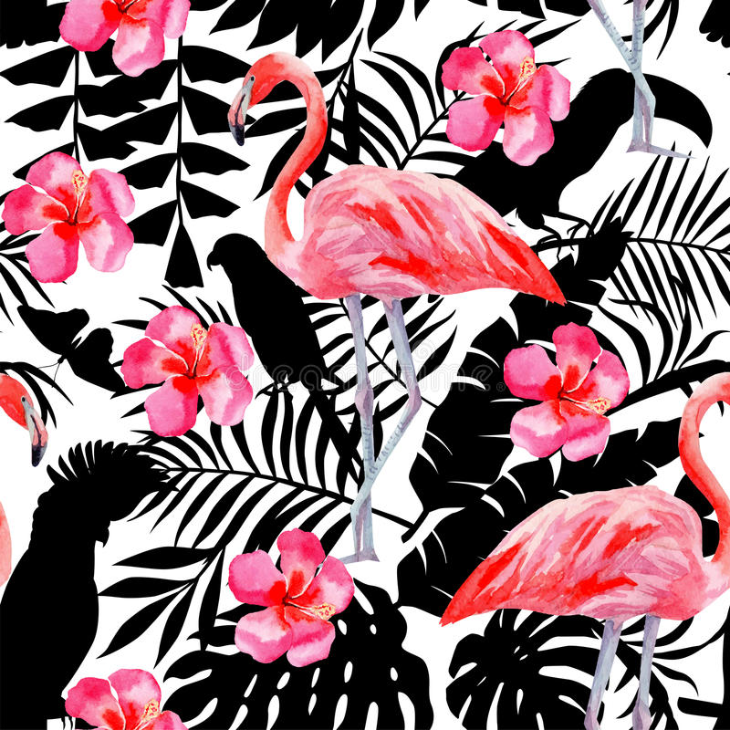 Flamingo- und Hibiscusaquarellmuster, Papageien und tropische Anlagen silhouettieren Hintergrund stock abbildung