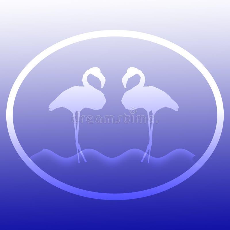Flamingo-V?gel, die in einer See-Illustration Logo Background Image stehen lizenzfreie abbildung