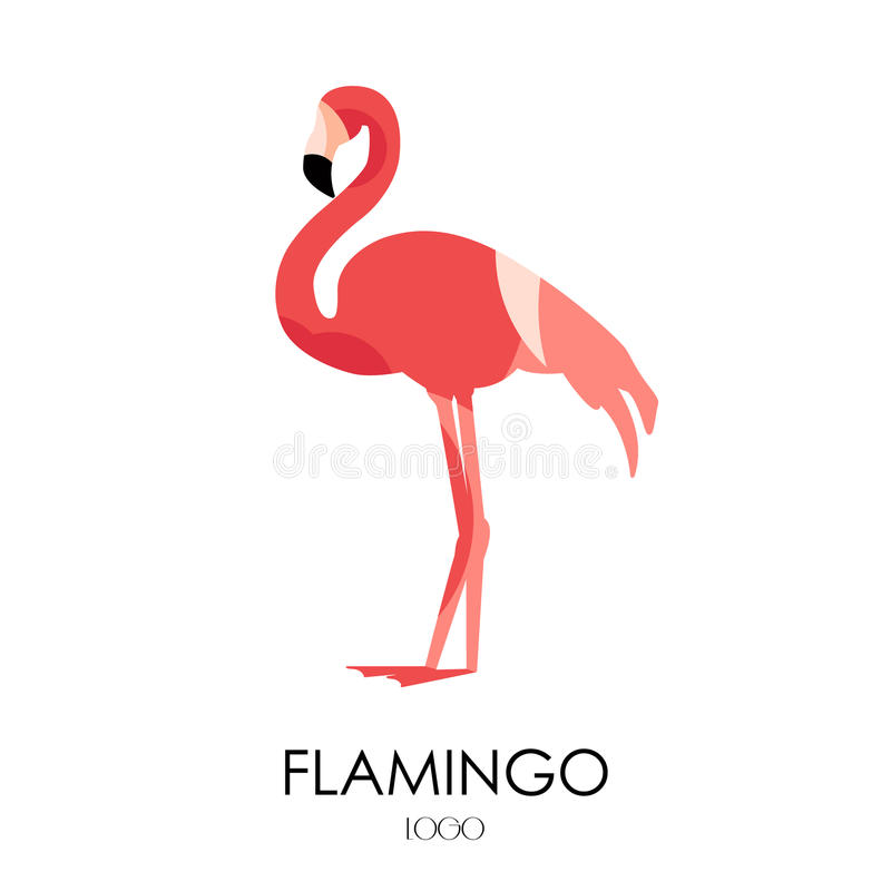 Flamingo vector icon. Logo. Flat design royalty free illustration