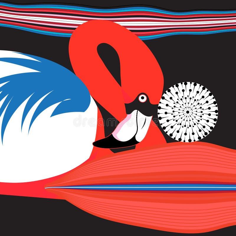 Flamingo vermelho bonito do cartaz dos gráficos ilustração stock