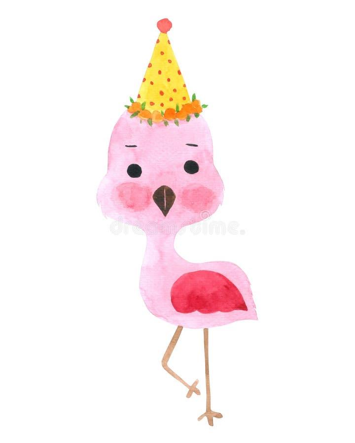 Flamingo-Vogel-Karikaturaquarellsammlung auf weißem Hintergrund, Hand gezeichneter Charakter für Kinder, Gruß-Karte, Fälle entwer stock abbildung