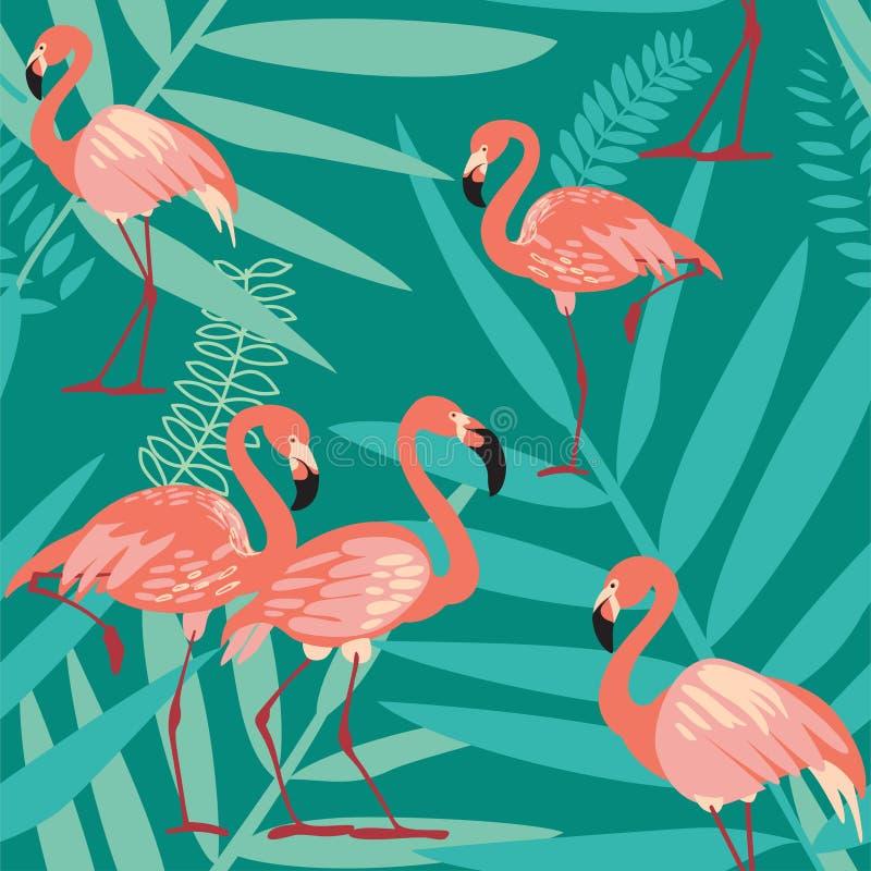 Flamingo-Vogel und tropischer Blumen-Hintergrund stock abbildung