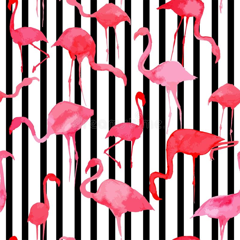 Flamingo watercolor silhouette pattern, black and white striped stock illustration
