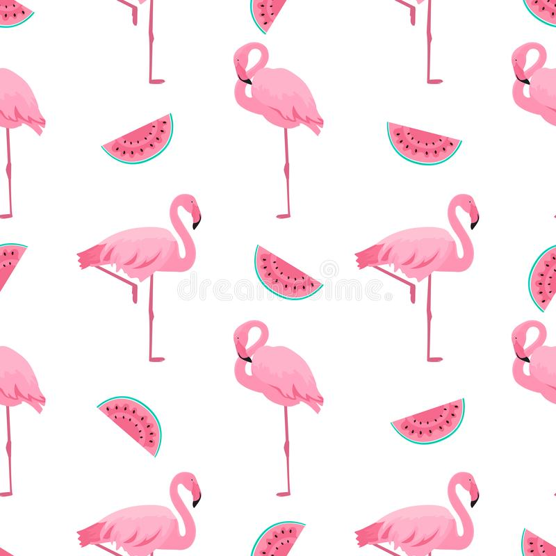 Flamingo and watermelon. Summer tropical seamless pattern. Used for design surfaces, fabrics, textiles, packaging paper, wallpaper royalty free illustration
