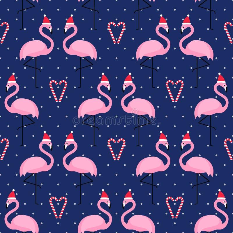 Flamingo in Weihnachtshut mit nahtlosem Muster des Zuckerstange-Herzens auf blauem Tupfenhintergrund stock abbildung