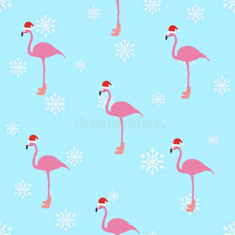 Flamingo winter style seamless pattern vector illustration