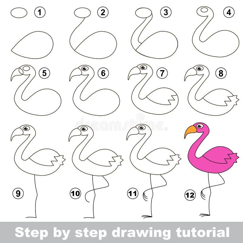 flamingo Zeichnendes Tutorium stock abbildung