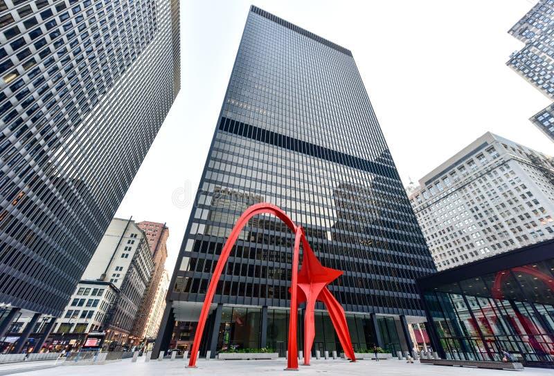 Flamingobeeldhouwwerk - Federaal Plein - Chicago royalty-vrije stock afbeelding