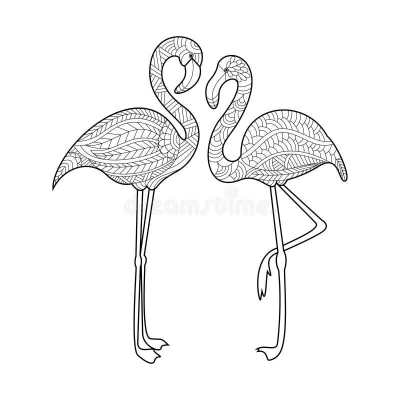 Flamingofärgläggningbok för vuxen människavektor vektor illustrationer