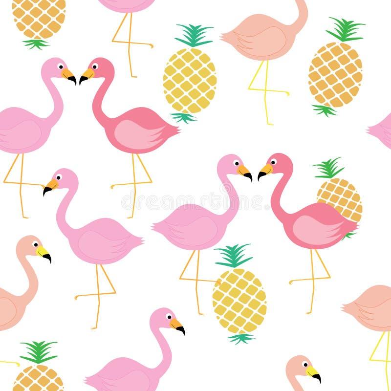 Flamingofågel med modellen för tropisk frukt för ananas den sömlösa vektor illustrationer